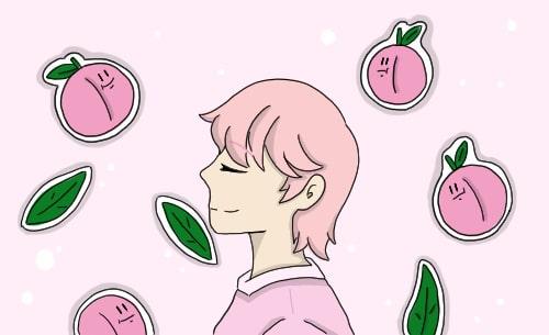 핑크빛으로 물든 수줍음 가득 복숭아